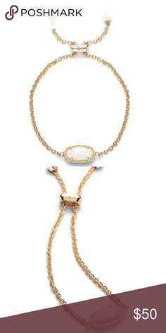 NEW! Kendra Scott Elaina Gold Bracelet--White Opal NEW! Kendra Scott Elaina Gold Adjustable Chain Bracelet In White Opal. Comes with dust bag and gift box Kendra Scott Jewelry Bracelets