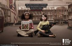 Guns are legal but Little Red Riding Hood is not: The provocative new PSAs of children holding banned items side-by-side with assault weapons