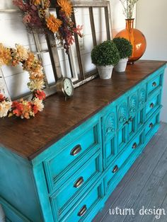 Sold Turquoise tv console/ buffet/ sideboard/ by UTurnDesign
