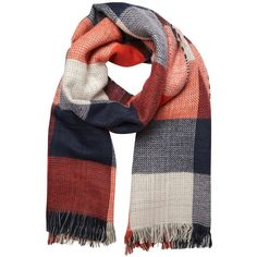 Add a pop of colour to your outfit with this gorgeous red check scarf.  100% Acrylic.  Machine washable.