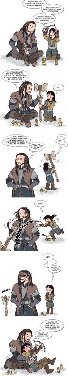 A good uncle indeed!  Drawn by johanirae ...  Kili, dwarf, The Hobbit, Tolkien, Thorin Oakenshield, Thorin