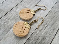 Cork Brass Earring  Jewelry  earring  by CollectionsbyTracy, $15.00