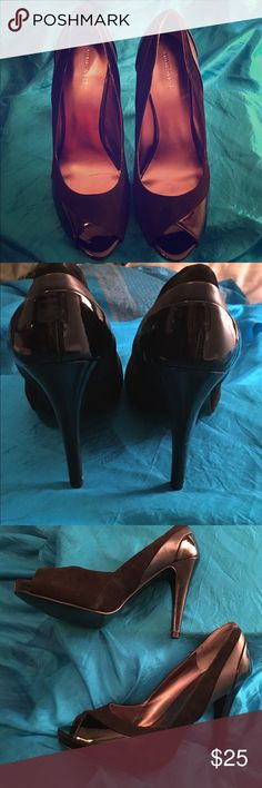 Peep-toe, black suede & patent leather heels Nine West hidden platform heels with peep-toe. Beautiful combo of black suede, patent and regular leather. Great for winter outings and holiday parties. Never worn. Nine West Shoes Heels