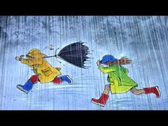 """illustration from """"Rain"""" written and illustrated by Peter Spier Wordless Picture Books, Rain Painting, Autumn Painting, Rain Art, Under My Umbrella, Children's Book Illustration, Book Illustrations, Dancing In The Rain, Disney Drawings"""