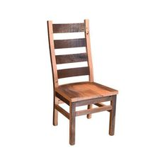 Amish Reclaimed Wood Ladderback Chair Solid barn wood chairs built in choice of finish. Option to add a leather seat. Available in side and arm chairs. Shaker Furniture, Amish Furniture, Dining Room Furniture, Wood Furniture, Dining Chairs, Wood Chairs, Arm Chairs, Chair Design Wooden, Ladder Back Chairs