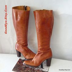 Vintage Leather Knee Boots Italy 1970s Size 8 .5 Eur 39 by GoodEye, $65.00