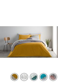 1a72cf5531ee35 MADE 100% Cotton Reversible King Bed Set, Mustard/mist Grey Uk. Express  delivery. Solar Bedding Collection from MADE.COM.