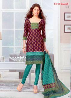Salwar Kameez Cotton Dress Material Printed Churidar Suit Fashion Party SG 418