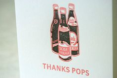 Letterpress Father's Day Card  Thanks Pops by papillonpress, $5.50