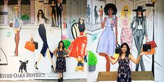 Large fashion illustration window display at River Oaks District by international fashion illustrator Rongrong DeVoe.JPG