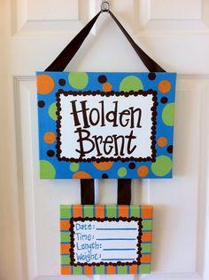hospital baby door hanger for boy | Custom Hospital Birth Announcement Door Hanger. $48.00, ... | Baby'...