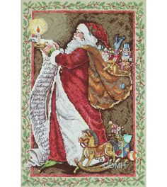 SANTA'S WISH LIST Christmas Cross Stitch Kit Santa Claus Santa's List by NeedleLittleTherapy on Etsy