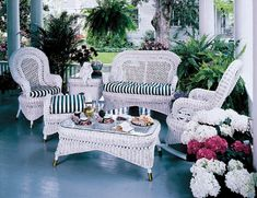 Country White Sunroom And Living Room Set By E Island Wicker Sets