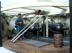 Interior of the Monitor's turret. It fought the Confederate ship CSS Virginia… Uss Monitor, Military Art, Military History, Scale Model Ships, Gun Turret, Civil War Art, United States Navy, Navy Ships, American Revolution