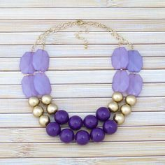 Purple & Gold Statement Necklace, Purple Color Block Double Strand Necklace, Bridesmaid Necklace, Bridal Statement Purple Wedding Jewelry