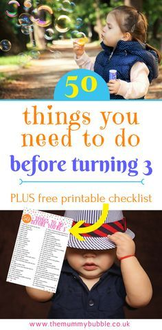 Looking for ideas for what to do with your toddler? I have 50! These are 50 things you need to do before turning 3 - lots of activities, outdoor and indoor play and inspiration for parents to keep your three year old happy!