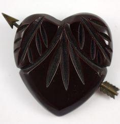 Vintage Carved Brown Bakelite Heart with Arrow Pin Brooch, 1940's