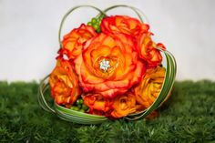 Gorgeous circus roses bouquet with a pop of bling!!!
