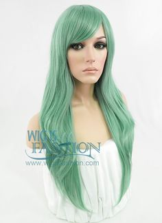 "24"" Long Wavy Ash Green Fashion Synthetic Hair Wig PL385 - Wig Is Fashion"