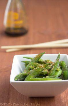 Edamame with Roy's seasoning - spicy, sweet and salty! We love edamame!
