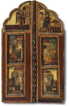 Works of Greek and Post-Byzantine Art of the 15th–18th centuries    Царские врата с изображениями Благовещения и четыре евангелистов