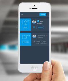 Flat UI mobile app with ultra simple UX flow.  Facility parking management app: http://about.parkalot.io