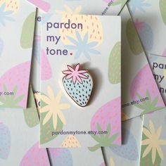 Pastel Strawberry enamel pin / light blue enamel pin / girl