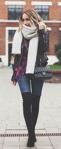 #winter #fashion / layers + plaid