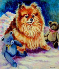 Cutie Pie - Pomeranian Painting by Lyn Cook - Cutie Pie - Pomeranian Fine Art Prints and Posters for Sale