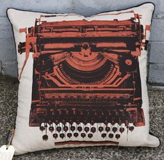 Typewriter Pillow from Publisher Textiles $55