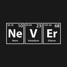 Shop Never (Ne-V-Er) Periodic Elements Spelling never t-shirts designed by cerebrands as well as other never merchandise at TeePublic.