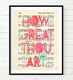 Vintage Hymnal Book of Worship page  How Great Thou Art  Christian ART PRINT UNFRAMED Hymnsheet music watercolor lyrics dictionary wall  home decor poster gift -- To view further for this item, visit the image link.Note:It is affiliate link to Amazon.