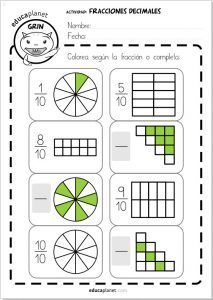 Fracciones decimales ejercicios Primaria 2nd Grade Math Worksheets, Fractions Worksheets, Printable Math Worksheets, Math Fractions, Maths, Math Resources, Math Activities, Math Charts, Math Notebooks