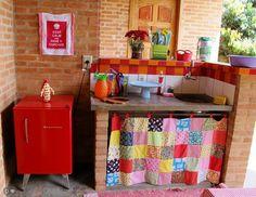 cortina by Ana Sinhana Patio Kitchen, Old Kitchen, Sweet Home, Kitchen Models, Vintage Kitchen Decor, The Design Files, Diy Home Crafts, Vintage Design, Decoration