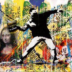 MR. BRAINWASH-BANKSY THROWER.-POPARTGALERIEFLUEGELRONCAKNUREMBERG Love Graffiti, Urban Graffiti, Mr Brainwash, Banksy, Urban Art, Oeuvre D'art, Les Oeuvres, Pop Art, Street Art