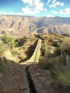 Hiking and following this Incan aqueduct through thorns, a bull, and rocks  @ Tipon. Cusco, Peru