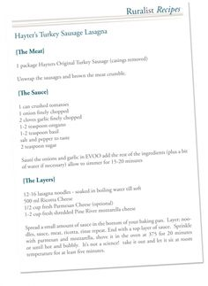 Hayter's Turkey Sausage Lasagna Sausage Casing, Sausage Lasagna, Turkey Sausage, How To Remove, Recipes, Rezepte, Recipe