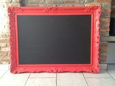 DIY magneet/krijtbord - oude kader geschilderd + plaat geschilderd met magneet- en bordverf