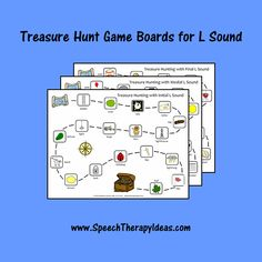 Treasure Hunt Game Boards for L Sound Speech Therapy Games, Therapy Activities, Therapy Ideas, Game Boards, Board Games, Treasure Hunt Games, Pirate Theme, Picture Cards, Speech And Language