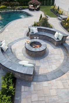 55 Easy DIY Outdoor Fire Pit and Cozy Seating Area Ideas . - 55 Easy DIY Outdoor Fire Pit and Cozy Seating Area Ideas backyard Backyard Seating, Backyard Patio Designs, Backyard Landscaping, Outdoor Seating, Stone Patio Designs, Fire Pit Landscaping Ideas, Landscaping Borders, Pergola Designs, Piscina Oval