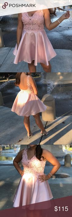 homecoming dress!! just worn once for my boyfriend's homecoming & it was by far my favorite homecoming dress! beautiful pink blush color, nothing wrong with it! open back, bra cups, sequined, vneck, 100% polyester (satin), hand beaded Dresses Prom