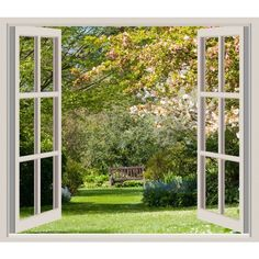 Spring Garden Window Frame View ❤ liked on Polyvore featuring windows, backgrounds, home, pictures, frames, fillers, borders and picture frame