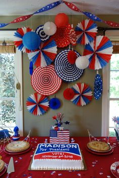 Red, white and blue Presidential Birthday Party - we love the patriotic backdrop!