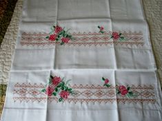 Vintage Embroidery Pair of Dark Pink Roses & Cross Stitch in Excellent Condition