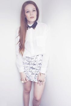 Shop this look on Kaleidoscope (skirt, blouse, necklace, ring, ring)  http://kalei.do/W7Gd7BPq9u4NJFwI