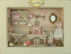 Cuarto de Costura en un cuadro con miniaturas, hecho por encargo.