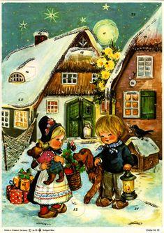 Richard Sellmer Advent Calendar, Order-Nr. 12, Illustrated by Anita Rahlwes, 1970s. Christmas Calendar, Advent Calendars, Seasonal Decor, Westerns, Germany, Seasons, Vintage, World, Illustration
