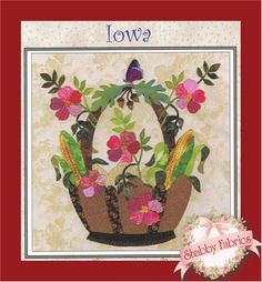 American Album Block - Iowa: New from Pearl P. Pereira! The American Album Blocks series is inspired by the Baltimore Album style and the beauty and history of each of the fifty states of the USA. Each block finishes to 15