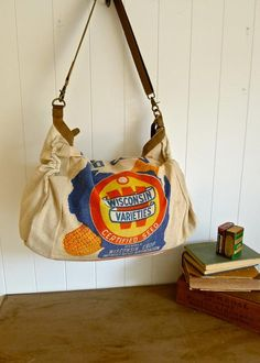 Items similar to SALE Wisconsin Varieties- Wisconsin Corp Assoc - Vintage  Seed Feed Sack Messenger Bag- Americana OOAK Canvas   Leather Tote. f94d875df4