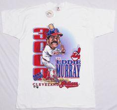 NOS-Vtg-1995-EDDIE-MURRAY-T-Shirt-XL-White-3000-HIT-CLUB-Cleveland-Indians-NEW